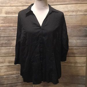 Tops - Black polka dot button down
